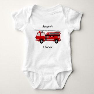 """Body Para Bebê Veste """"1 do bebê do carro de bombeiros hoje"""" com"""