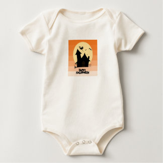 """Body Para Bebê """"Veste orgânica do Dia das Bruxas feliz"""""""