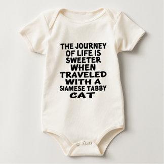 Body Para Bebê Viajado com o gato de gato malhado Siamese