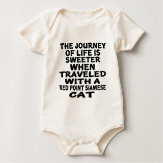 Body Para Bebê Viajado com o gato siamese do ponto vermelho