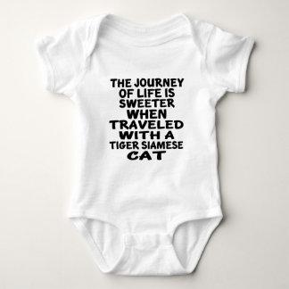 Body Para Bebê Viajado com o gato siamese do tigre
