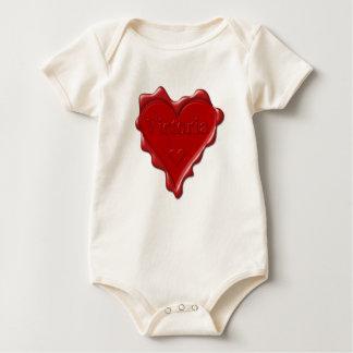 Body Para Bebê Victoria. Selo vermelho da cera do coração com