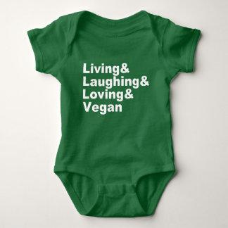 Body Para Bebê Vida e riso e amor e Vegan (brancos)