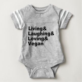 Body Para Bebê Vida e riso e amor e Vegan (preto)
