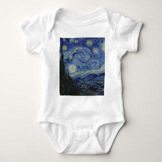 Body Para Bebê Vincent van Gogh - noite estrelado. Pintura da