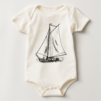 Body Para Bebê Vintage do desenho do veleiro