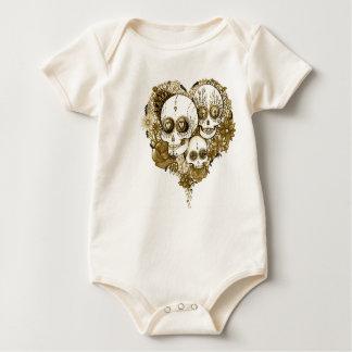 Body Para Bebê vintage do estilo do tatuagem da roupa do crânio