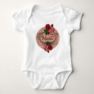Body Para Bebê Vintage floral para o amor da música
