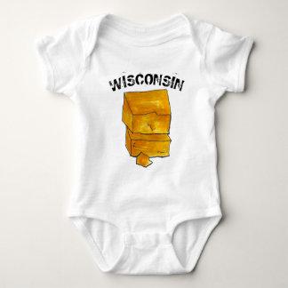 Body Para Bebê WI de Madison do queijo cheddar do amarelo do