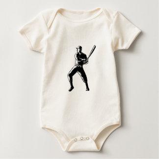 Body Para Bebê Woodcut da batedura do jogador de beisebol preto e