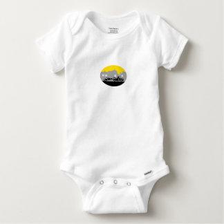 Body Para Bebê Woodcut do Oval das construções do carro de