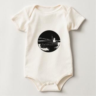 Body Para Bebê Woodcut do Oval do rebocador do rio