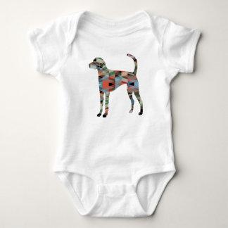 Body Para Bebê Xadrez da silhueta do teste padrão de Geo do cão
