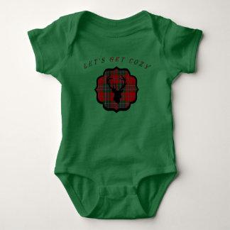 Body Para Bebê Xadrez do vermelho do Natal