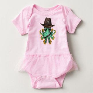 Body Para Bebê Xerife verde bonito do polvo do bebê