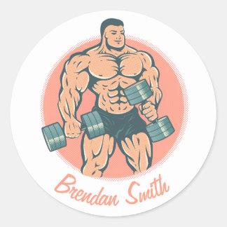 Bodybuilder do wiith da etiqueta e seu nome