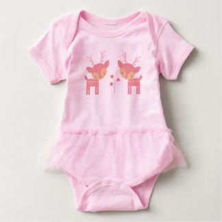 Bodysuit cor-de-rosa do bebê dos cervos body para bebê