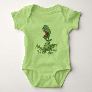 Bodysuit do bebê do dinossauro verde body para bebê