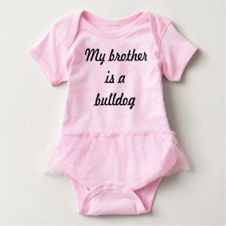 Bodysuit do bebê do irmão do buldogue com tutu body para bebê