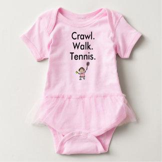 Bodysuit do bebê do rosa da menina do tênis com body para bebê