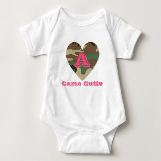 Bodysuit inicial do jérsei do bebê de Camo Cutie T-shirts