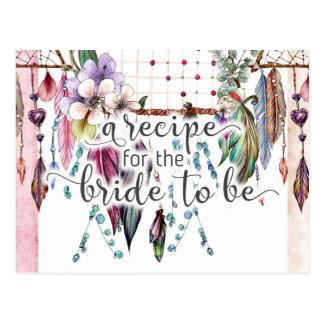 Boho Dreamcatcher & cartão da receita da noiva das