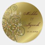 Boho verde elegante espirala etiquetas do casament adesivos redondos