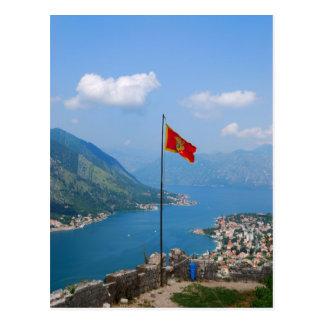 Boka Kotorska no cartão de Montenegro