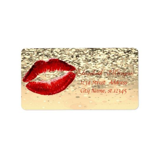 Bokeh Glittery chique glamoroso elegante, lábios Etiqueta De Endereço
