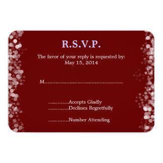 Bokeh vermelho e branco que Wedding RSVP Convite Personalizados