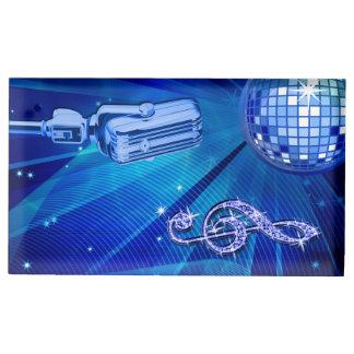 Bola azul do disco e microfone retro suporte para cartao de mesa