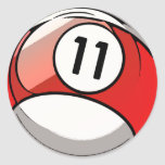Bola de bilhar cómica do número 11 do estilo adesivos em formato redondos