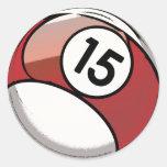 Bola de bilhar cómica do número 15 do estilo adesivos em formato redondos