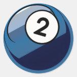 Bola de bilhar cómica do número 2 do estilo adesivo