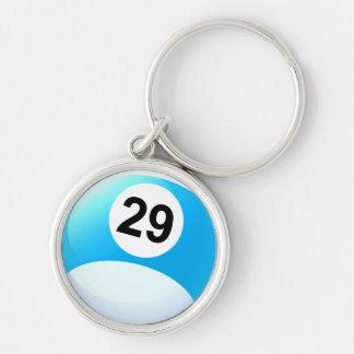 Bola de bilhar do número 29 chaveiro redondo na cor prata