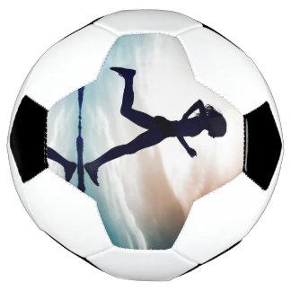 Bola De Futebol A menina Running é sua motivação
