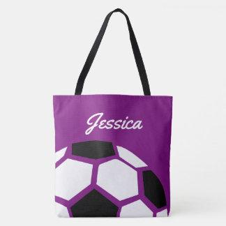 Bola de futebol à moda na moda personalizada roxo bolsa tote