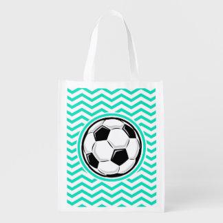 Bola de futebol Aqua Chevron verde Sacola Ecológica