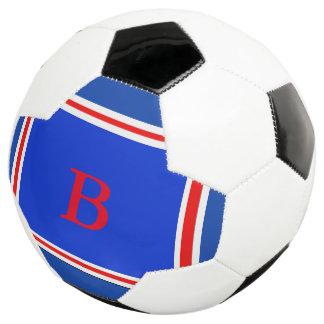 Bola De Futebol Branco Design-Azul & vermelho contemporâneos
