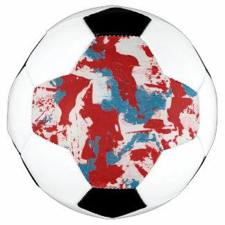 Bola De Futebol Brushstrokes vermelhos, brancos e azuis