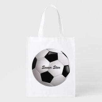 Bola de futebol customizável do futebol sacola ecológica para supermercado