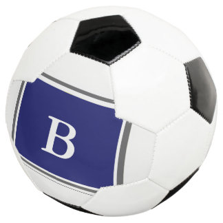 Bola De Futebol Design-Azul contemporâneo/cinzas