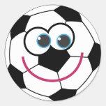 Bola de futebol dos desenhos animados adesivo em formato redondo