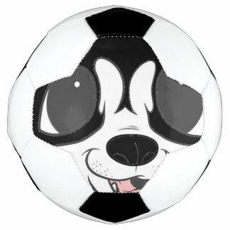 Bola De Futebol espreitar do rouco siberian preto e branco