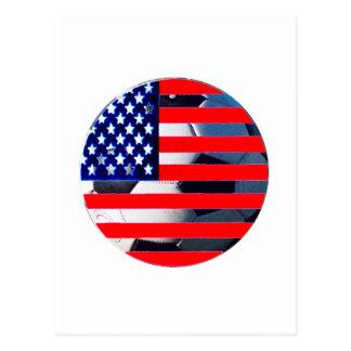 Bola de futebol & EUA Flag2 o MUSEU Zazzle Cartão Postal