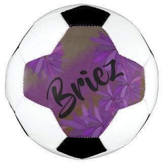 Bola De Futebol Floral roxo e verde personalizado