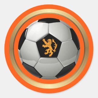 Bola de futebol holandesa, leão holandês na adesivo redondo