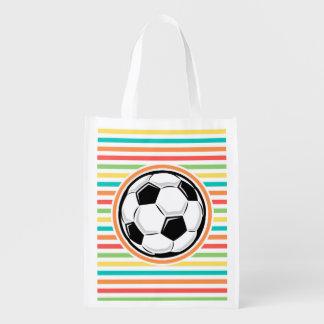 Bola de futebol Listras brilhantes do arco-íris Sacolas Ecológicas Para Supermercado