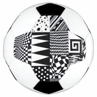 Bola De Futebol mão branca do teste padrão do preto geométrico