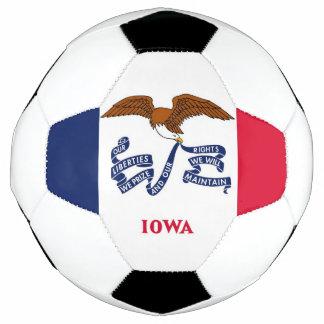 Bola de futebol patriótica com a bandeira de Iowa,